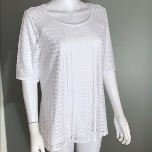 Dana Buchman Womans White Lace Top SZ.L